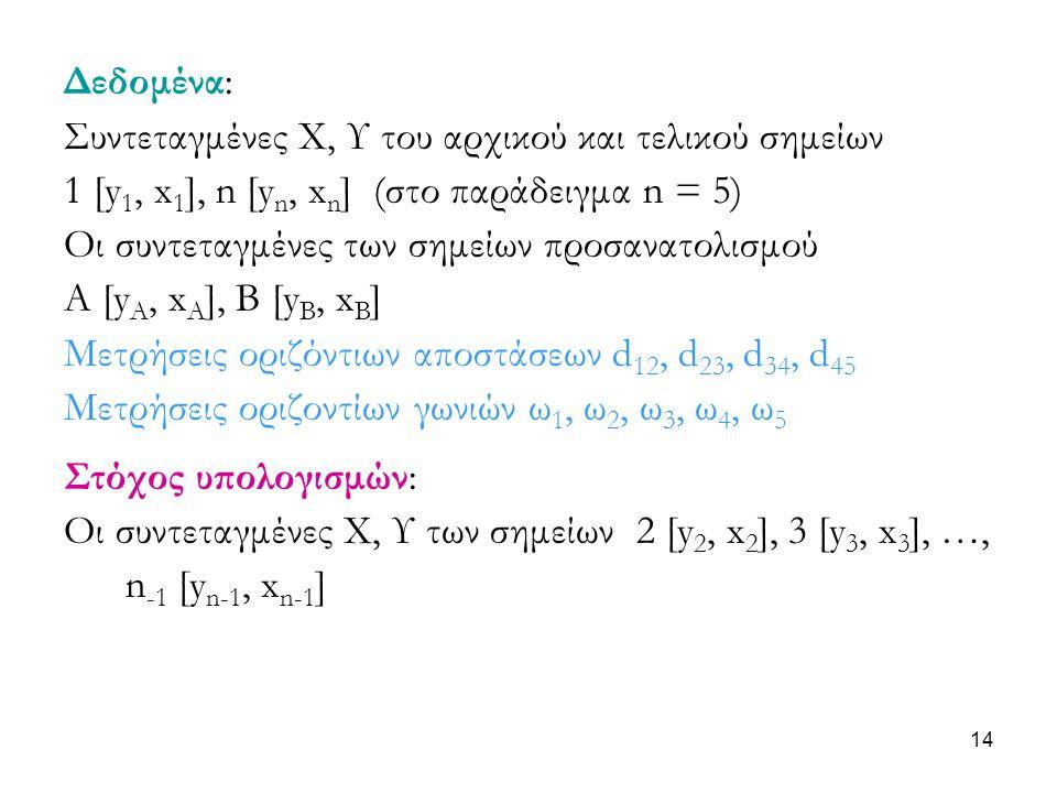Δεδομένα: Συντεταγμένες Χ, Υ του αρχικού και τελικού σημείων. 1 [y1, x1], n [yn, xn] (στο παράδειγμα n = 5)